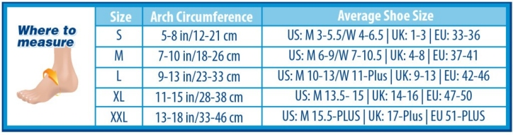 FS6 Compression Foot Sleeves Sizing Chart